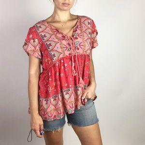 Jaase | Red/Coral Paisley Short Slv Blouse Sz XL